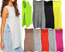 Ladies Womens Double Side HIGH SLITS Split Vest T Shirt Tunic Top Dress Jersey