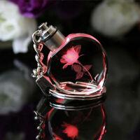 Fancy Fairy Crystal Rose LED Light Keychain Love Heart Key Chain Ring Keyring