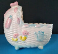 Napco Japan Baby Bed Bassinet Ceramic Planter Pink Blue Rattle Bottle