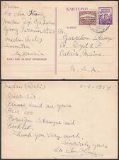 Indonesia 1954 - Postal stationary to Catais-Maine- USA.....(DD-693) MV-693