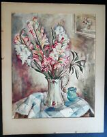 ORIGINAL WATERCOLOR PAINTING OF FLOWERS IN VASE ARTIST SIGNED BEATRICE E. LEVY