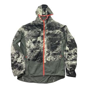 Nike Mens Trail Kiger Running Windbreaker Jacket Gray Abstract Pocket Hood Zip L