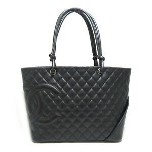 CHANEL Cambon Line Large Tote Bag leather Black Used Women CC Coco SHW