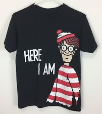 Where's Waldo? Men's Cotton T-Shirt Size Small Black Where's Waldo - Here I Am