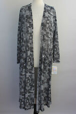 XL LuLaRoe Noir & Blanc Sarah Duster Cardigan Black White Patchwork Weave NWT 12