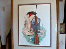 "HUNTING RIFLE PRINT BY STEVE ST CLAIR FRAMED PRINT 23 1/2"" x 27 1/2"" EX COND"