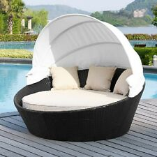 Ryde Outdoor Daybed with Cushion Outdoor Wicker with Canopy