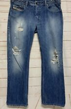 DIESEL ZATINY Mens 34 X 31 Button Fly Boot Cut Jeans Distressed Destroyed Look