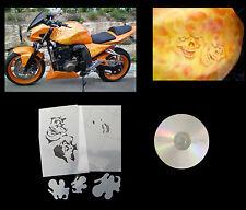 XL Airbrush Schablone Schädel/Skull mit Flammen 001 für Motorräder usw.