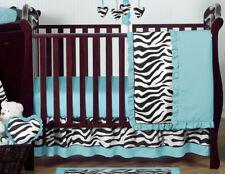 Bumperless Black White Blue Zebra Cute Baby Girl Crib Comforter Bedding Set Room