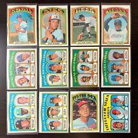 1972 Topps Baseball Cards Pick 'n Choose (#81 - #521) - EXMT - NRMT+