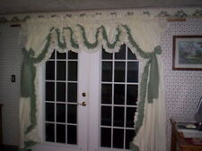 White and  sage green double ruffle country curtains