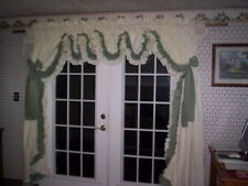 Cream with sage green accent ruffle and tie back double ruffle country curtain