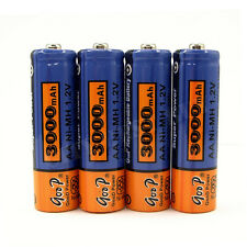 4 x 2A AA 3000mAh 1.2V NiMH Rechargeable Battery GODP Blue Orange