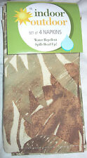 """Set f 4 Fabric Cloth 17.25"""" Square Table Napkins NIP Green Tans Leaves Decorated"""