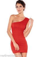 MiniAbito Vestito Donna Abito KEY LOVER B743 Aderente Rosso Monospalla Tg S/M