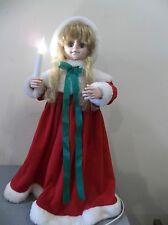 MOTIONETTE ANIMATED ANGEL GIRL DOLL CAROLER MOVING VINTAGE CHRISTMAS DECORATION