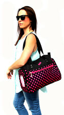 Black & Pink Hearts Fashion Carry Diaper Nappy Bag  (wipe case and mat inc)