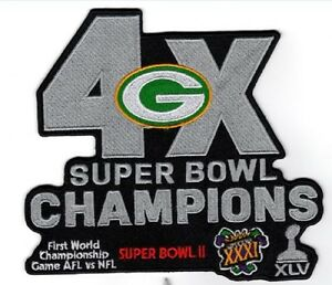 """GREEN BAY PACKERS SUPER BOWL JACKET PATCH 9 3/4"""" XLG 4X CHAMPIONS SUPERBOWL 52"""