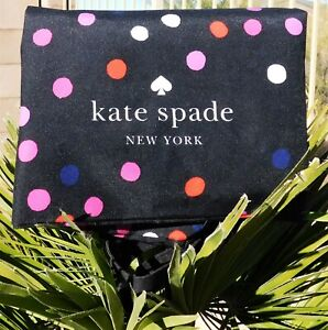 🌸 NWT Kate Spade Polka Dot Large Folding Shopper Tote Canvas Bag Black NEW