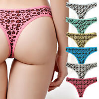 6,12 PACK Women Thongs Strings Cotton Sexy Leopard Low Rise Panties Underwear