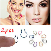Women  No Piercing Needed Fake Nose Ring Cilp On Hoop Faux Septum Body Jewelry