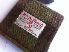 Green brown Harris tweed tartan wallet made in Scotland mens gift