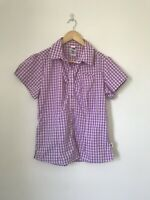 Womens Size Large North Face Pink Check Plaid Short Sleeve Shirt Hiking U1