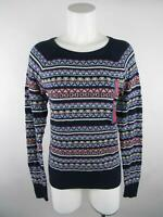 Merona NWT Women's sz L Blue Geometric Striped Crew Neck Pullover Sweater