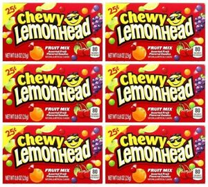 6x Chewy Lemonhead Fruit Mix Assorted Fruit Flavored Candies American Sweets-New