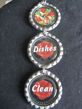 Birds and Flowers Country Black & Red Dishwasher Clean/Dirty Ornament~Gift Idea