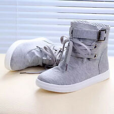 Winter Women Ankle Boots Flats Buckle Lace-Up Canvas Casual Shoes Martin Boots T