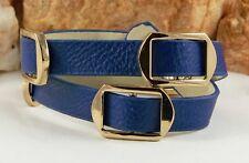 "Blue Leather Wrap Buckle Bracelet 7-7.5"" Goldtone"