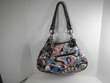 KATHY VAN ZEELAND MULTI COLOR BOHO SATCHEL WOMEN'S HANDBAG PURSE BAG
