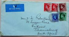 GREAT BRITAIN 1937 AIRMAIL COVER TO SOUTH AFRICA WITH EDWARD VIII BOOKLET STAMPS