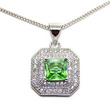 Silver Peridot And Diamond 1.3ct Necklace