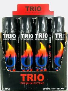 12 X TRIO PREMIUM UNIVERSAL GAS LIGHTER REFILL DISPLAY BOX 300ML