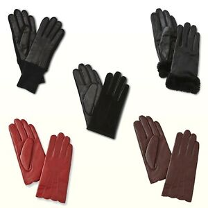 Big Girl / Womens Leather Gloves 3M Thinsulate K-Mart Red Brown Black New
