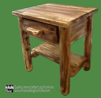 Torched Cedar Log Nightstand w/shelf - $249 - Free Shipping - Dovetail Drawer