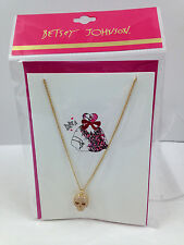 NWT Betsey Johnson Pave SKULL Charm Necklace Gold Tone With Card Free Shipping