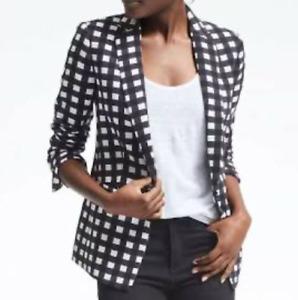 Banana Republic Women's Blue Black & White Gingham Plaid Blazer Jacket Size 12