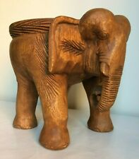 """Elephant Side Table/Solid Wood/Hand Carved/Lamp Table/Plant Stand/Waxed 10"""""""