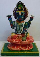 "Beautiful Hand Painted Wood Lord Vishnu Hindu God Statue 3"""