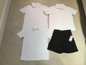 Boys school uniform PE kit bundle 3 polo shirts 1 shorts bnwt age 6/7 7/8 years