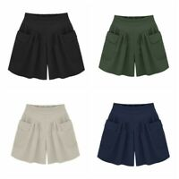 Womens Summer Casual Beach Shorts Elastic High Waist Loose Short Pants Plus Size