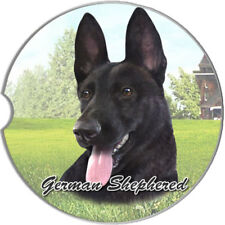 German Shepherd Black Auto Coasters