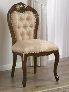 Dining chair Amalia English Baroque style walnut and gold leaf faux leather cham