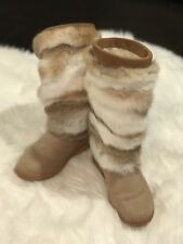 NWOB Pajar FOXY Rabbit Fur/Cow Hide Boots Womens Size 38 US 8 Winter Snow Beige