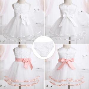 Baby Girls Flower Princess Dress Bridesmaid Wedding Christening Party Skirt
