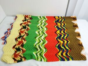 Twin Handmade Knit Colorful  Zig Zag Multi Color Striped Throw Blanket